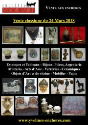 Vente classique : Estampes et tableaux - Bijoux et Argenterie - Militaria - Objets d'Art et de vitrine - Arts de la table - Mobilier - Tapis et tapisserie