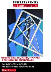 TABLEAUX, STREET ART, DESSINS, SCULPTURES & PHOTOGRAPHIES CONTEMPORAINES