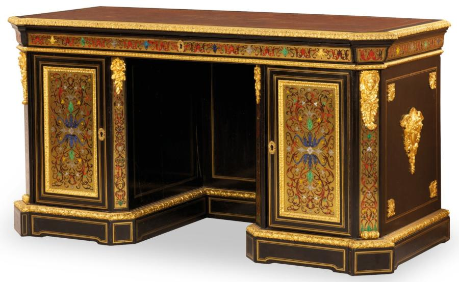 marqueterie boulle grand bureau caissons. Black Bedroom Furniture Sets. Home Design Ideas