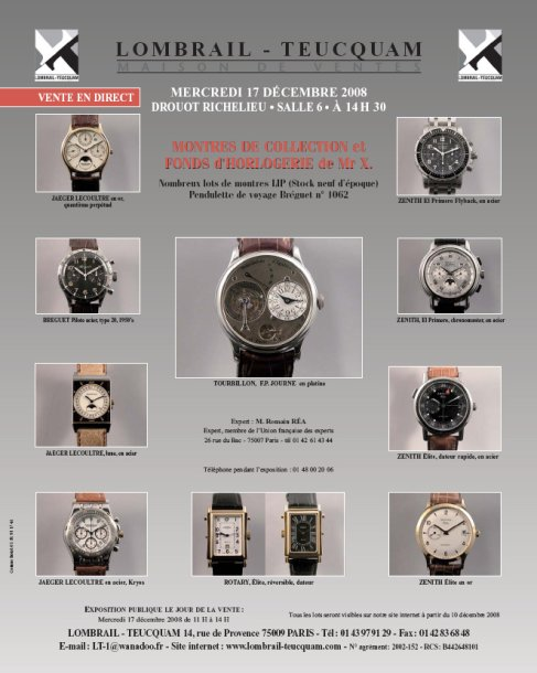 MONTRES BRACELETS DE COLLECTION - DROUOT RICHELIEU - EXPERT : Romain REA