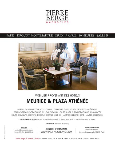 vente aux encheres mobilier des h tels meurice et plaza ath n e pierre berg associ s. Black Bedroom Furniture Sets. Home Design Ideas