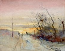 Promeneurs au crépuscule route de Morestel Aquarelle sur trait de mine graphite,...