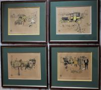 "René VINCENT (1879- 1936)  "" 4 Lithographies""  Collection de 4 lithographies signées..."