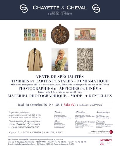 VENTE DE SPECIALITES: TIMBRES et NUMISMATIQUE, AFFICHES ET PHOTOS DE CINEMA,  MATERIEL PHOTO, MODE et DENTELLES