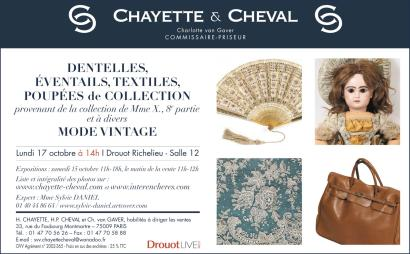 DENTELLES, ÉVENTAILS, TEXTILES, POUPÉES DE COLLECTION provenant de la collection de Mme X., huitième partie et à divers ET MODE VINTAGE