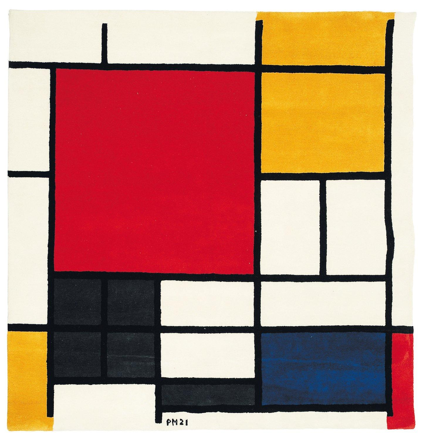 piet mondrian composition en rouge jaune et bleu 1921 tapis en laine. Black Bedroom Furniture Sets. Home Design Ideas