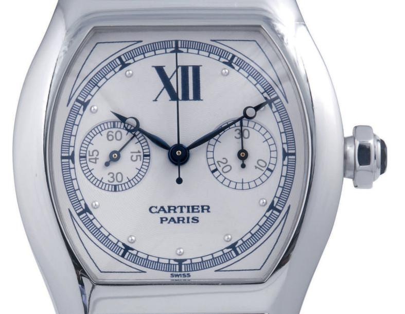 "CARTIER ""TORTUE"" CHRONOGRAPH WHITE GOLD Cartier ""Tortue single button chronograph"",…"