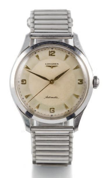 LONGINES, MADE IN 1960'S Fine, self-winding, stainless steel wristwatch with center…