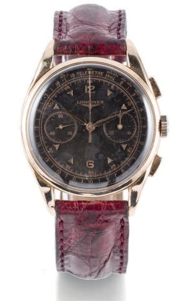 LONGINES 30 CH CHRONOGRAPH PINK GOLD Longines, case n° 116608190. Made circa 1950…