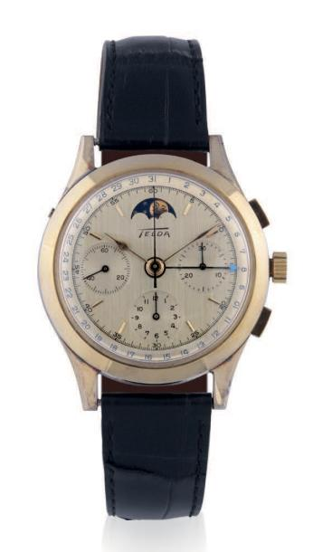 TELDA CHRONOGRAPH, DATE AND MOONPHASE, SILVER PLATED Telda, chronograph, Venus année…