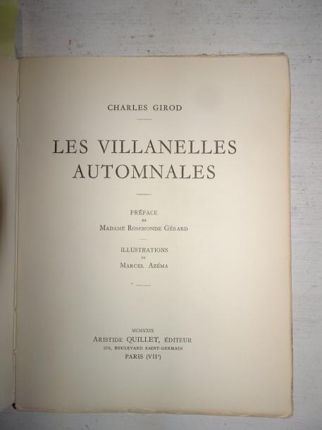 Charles GIROD  Les Villanelles automnales.  Ill. Marcel Azéma.  Aristide Quillet,…