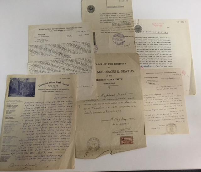 [TRIBUNAL RABBINIQUE] Ensemble de 8 documents manuscrits ou imprimés provenant des…
