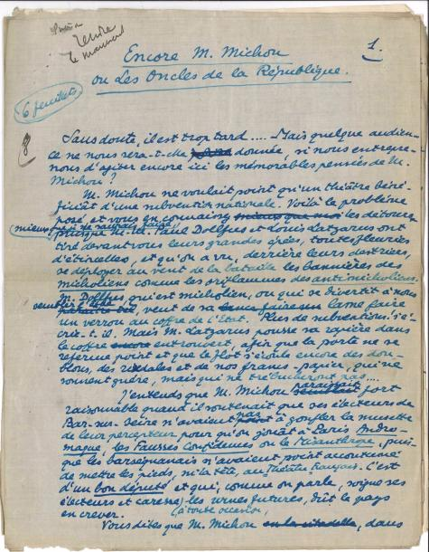 Tristan DERÈME. 3 manuscrits autographe signés ; 5 pages et demie et 3 pages in-4,…
