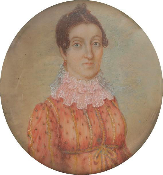 Portrait de femme en robe orange à pois et à triple collerette de dentelle Miniature…